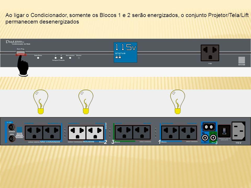 Ao ligar o Condicionador, somente os Blocos 1 e 2 serão energizados, o conjunto Projetor/Tela/Lift