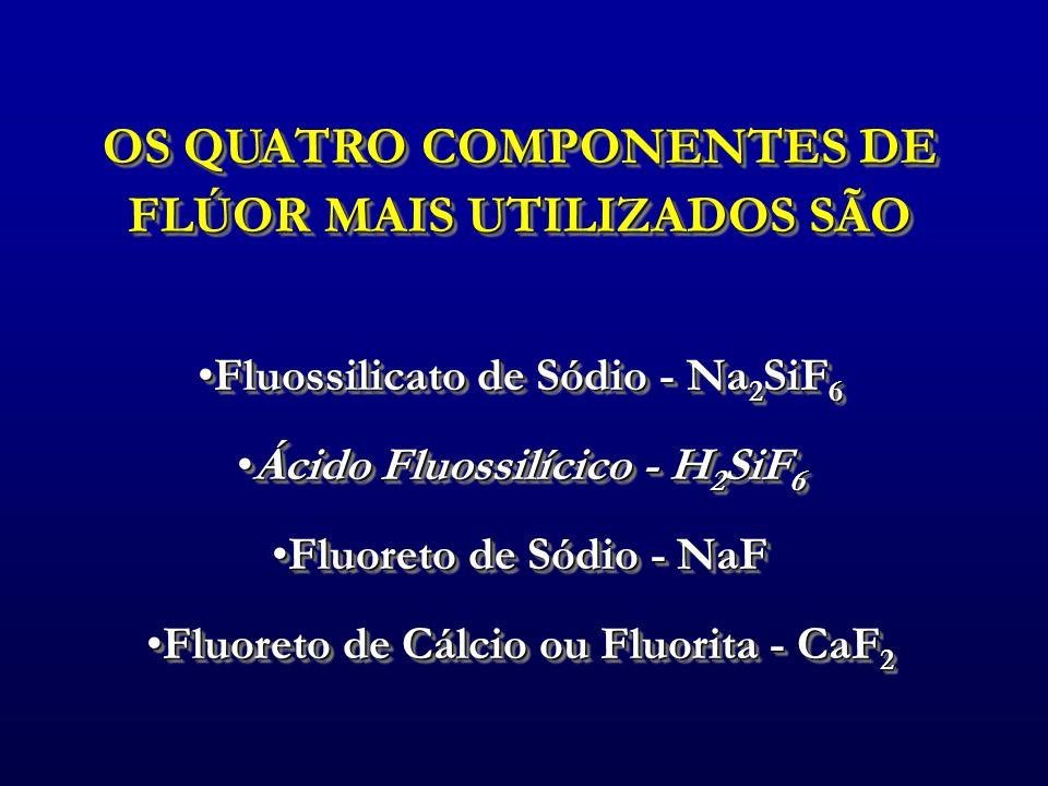 OS QUATRO COMPONENTES DE FLÚOR MAIS UTILIZADOS SÃO