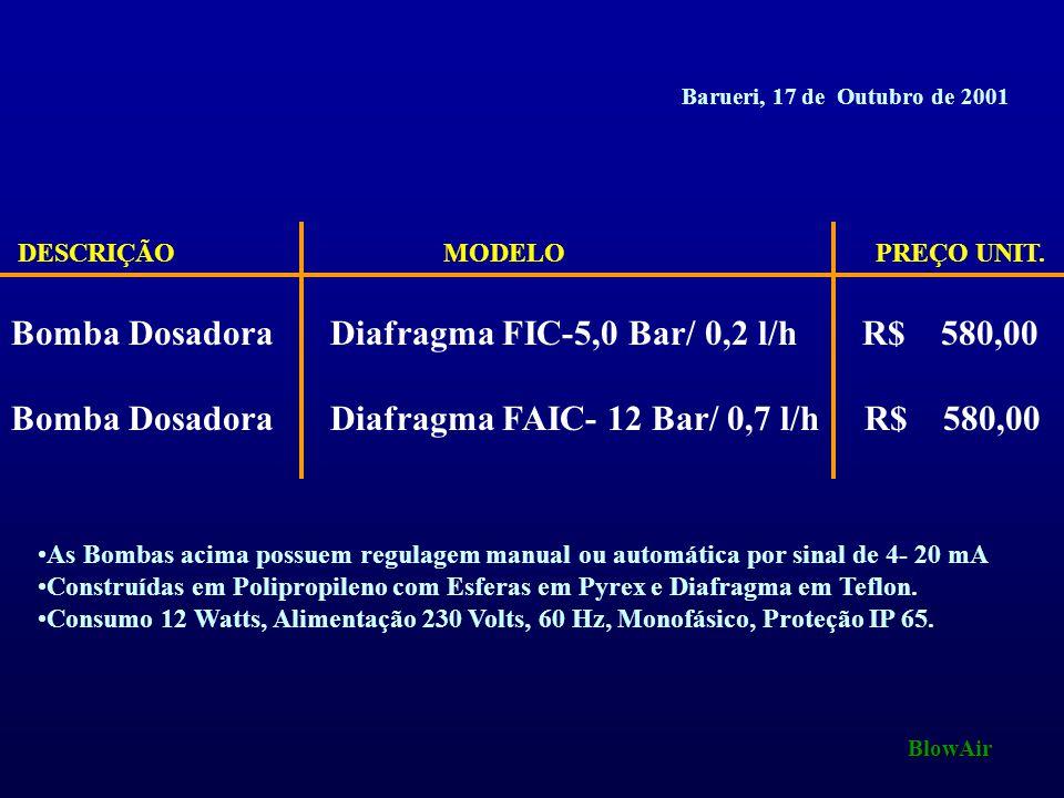 Bomba Dosadora Diafragma FIC-5,0 Bar/ 0,2 l/h R$ 580,00