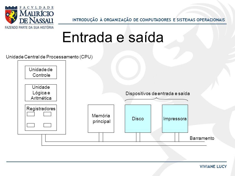 Entrada e saída Unidade Central de Processamento (CPU) Unidade de