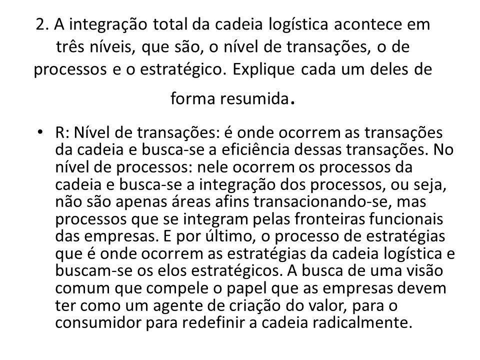 2. A integração total da cadeia logística acontece em três níveis, que são, o nível de transações, o de processos e o estratégico. Explique cada um deles de forma resumida.