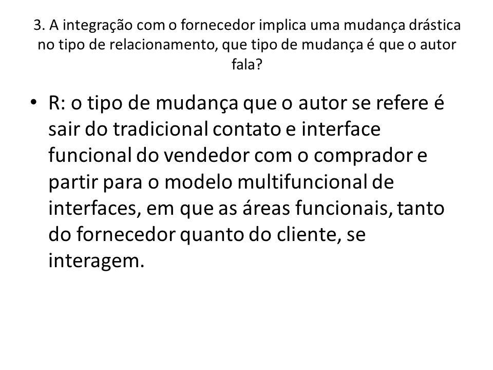 3. A integração com o fornecedor implica uma mudança drástica no tipo de relacionamento, que tipo de mudança é que o autor fala