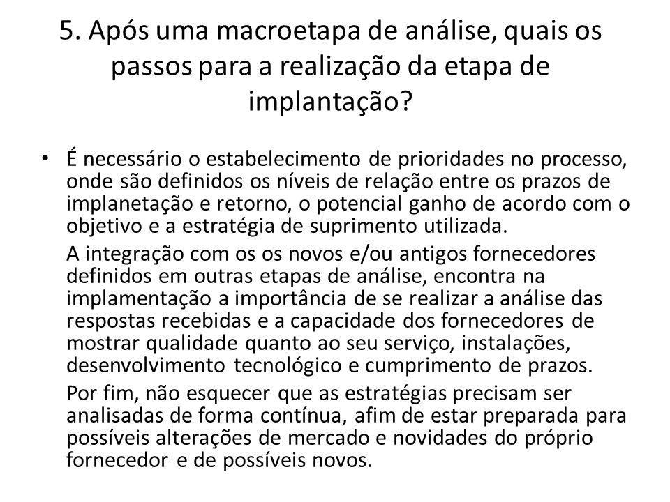 5. Após uma macroetapa de análise, quais os passos para a realização da etapa de implantação