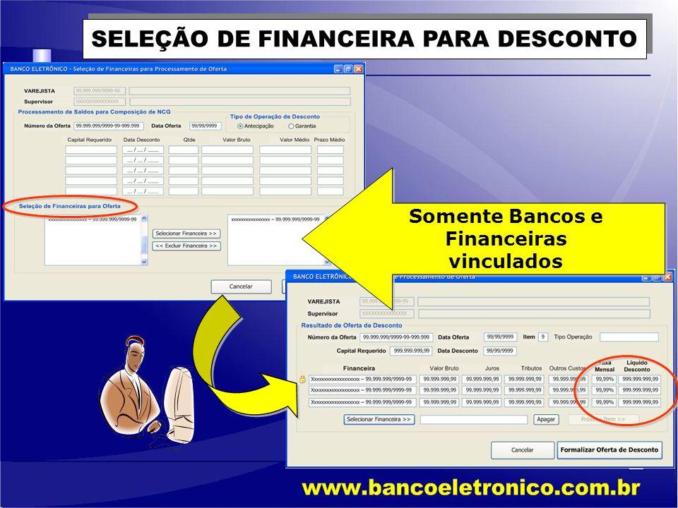SELEÇÃO DE FINANCEIRA PARA DESCONTO Somente Bancos e Financeiras