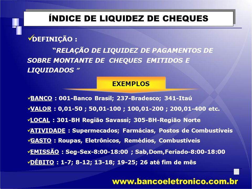 ÍNDICE DE LIQUIDEZ DE CHEQUES