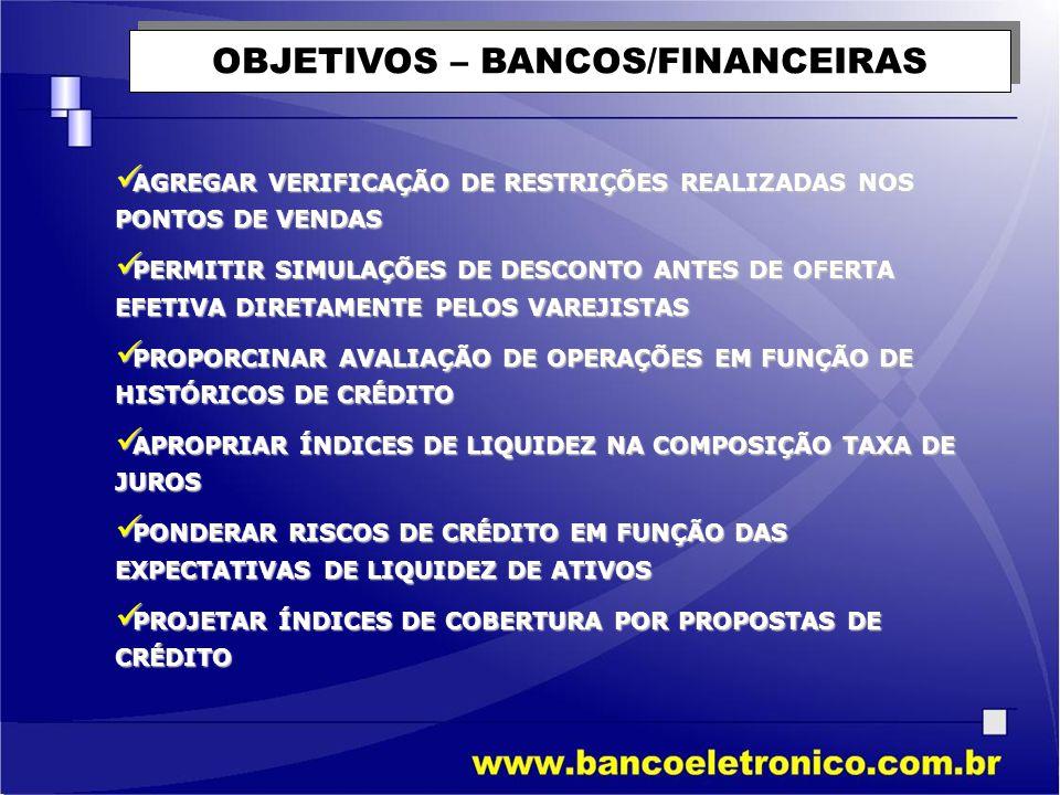 OBJETIVOS – BANCOS/FINANCEIRAS