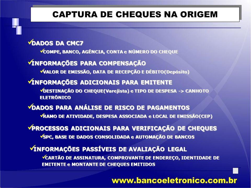 CAPTURA DE CHEQUES NA ORIGEM