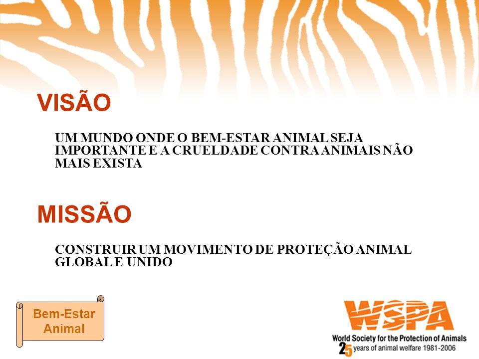 VISÃO UM MUNDO ONDE O BEM-ESTAR ANIMAL SEJA IMPORTANTE E A CRUELDADE CONTRA ANIMAIS NÃO MAIS EXISTA.