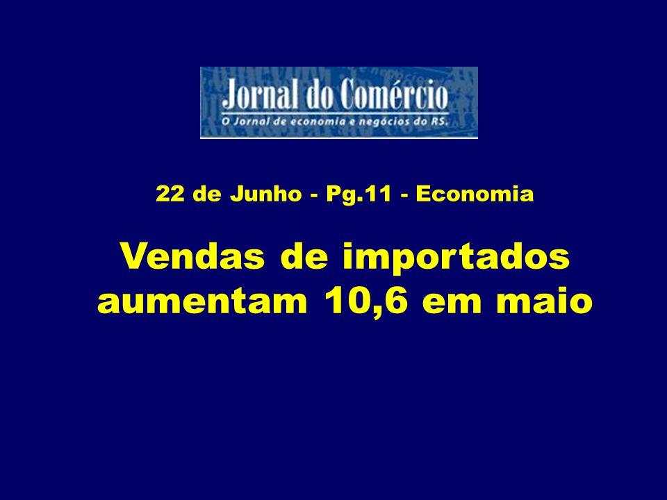Vendas de importados aumentam 10,6 em maio