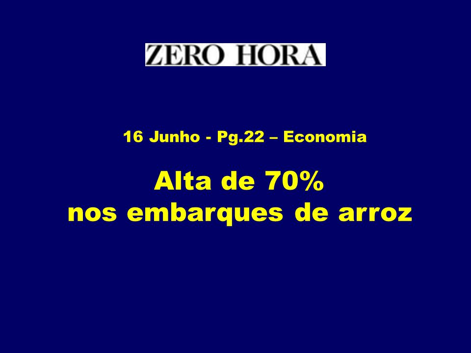 Alta de 70% nos embarques de arroz