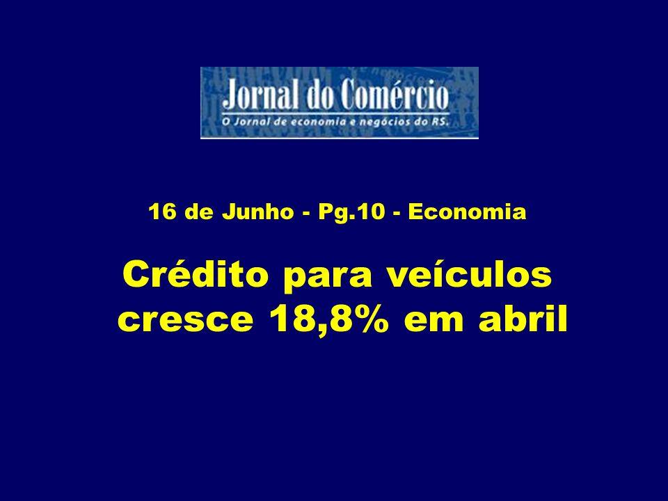Crédito para veículos cresce 18,8% em abril