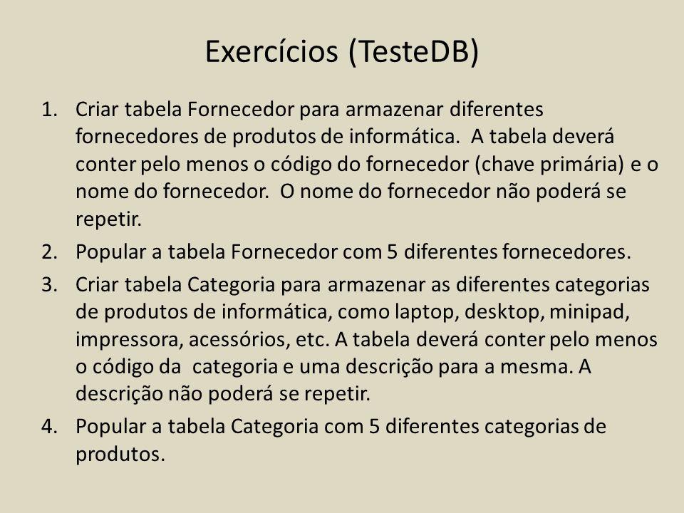 Exercícios (TesteDB)