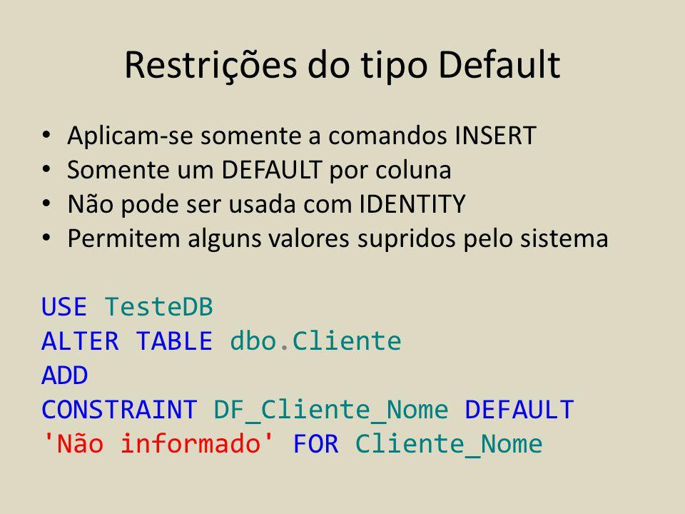 Restrições do tipo Default