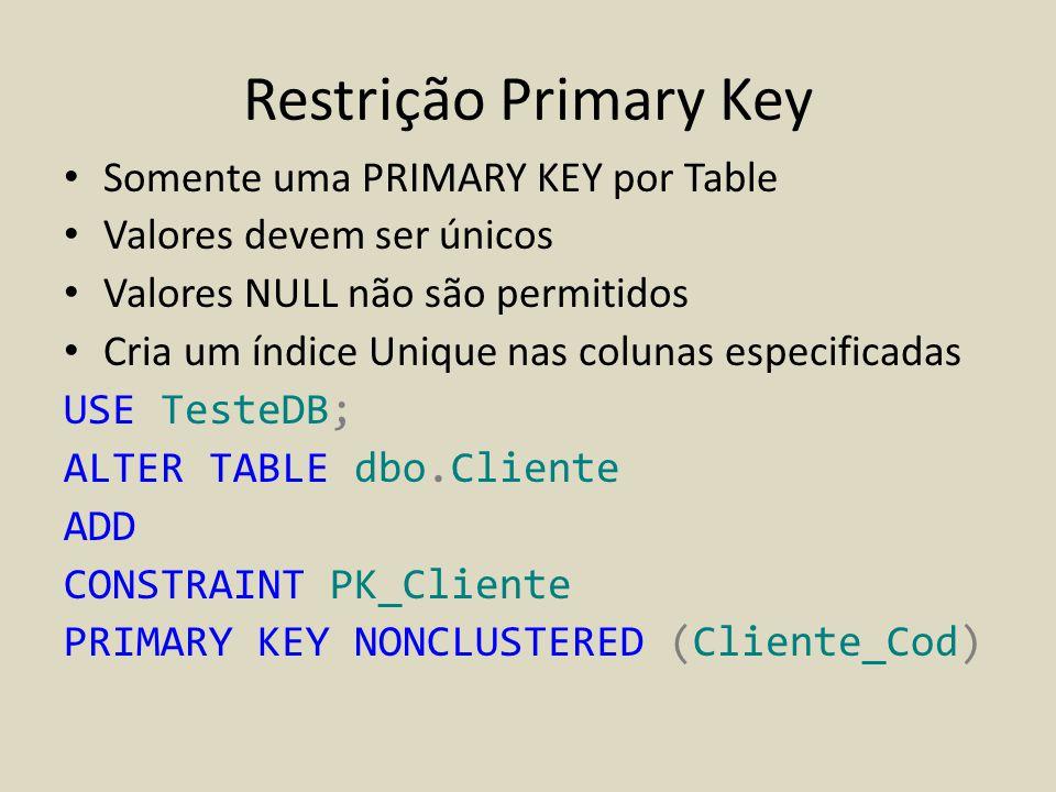 Restrição Primary Key Somente uma PRIMARY KEY por Table
