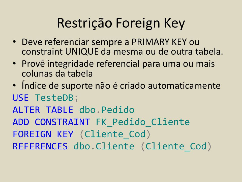 Sql server 2012 integridade de dados ppt carregar - Alter table add constraint primary key ...