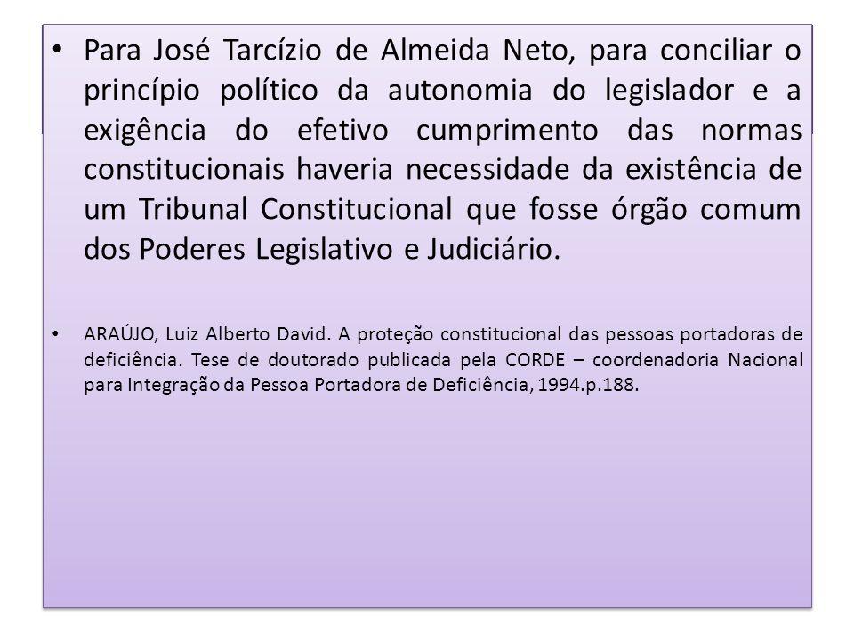 Para José Tarcízio de Almeida Neto, para conciliar o princípio político da autonomia do legislador e a exigência do efetivo cumprimento das normas constitucionais haveria necessidade da existência de um Tribunal Constitucional que fosse órgão comum dos Poderes Legislativo e Judiciário.
