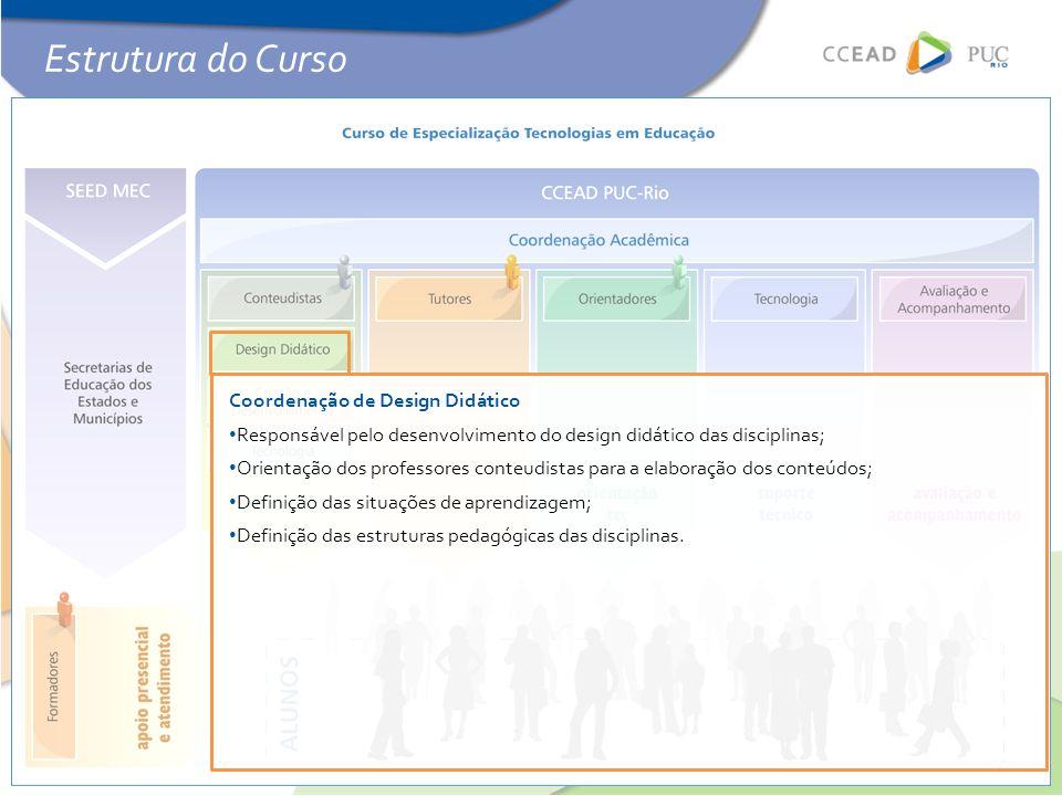 Estrutura do Curso Coordenação de Design Didático