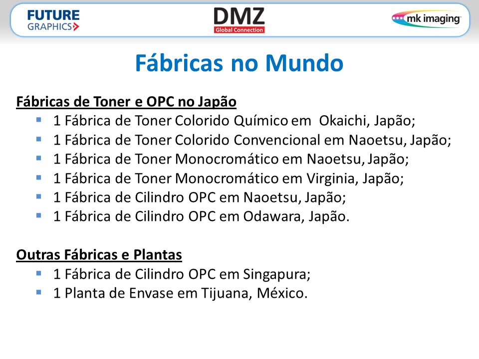 Fábricas no Mundo Fábricas de Toner e OPC no Japão