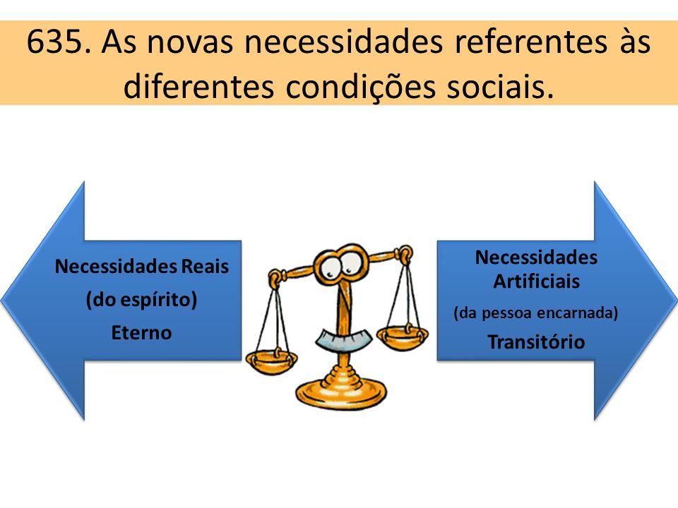 635. As novas necessidades referentes às diferentes condições sociais.