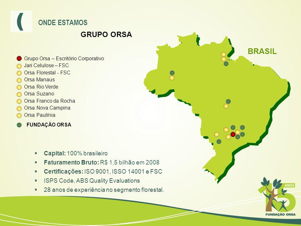 BRASIL ONDE ESTAMOS GRUPO ORSA Capital: 100% brasileiro