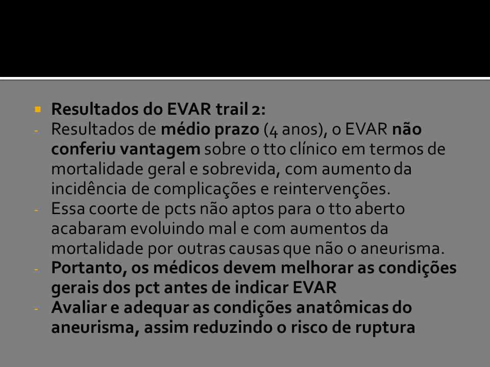Resultados do EVAR trail 2: