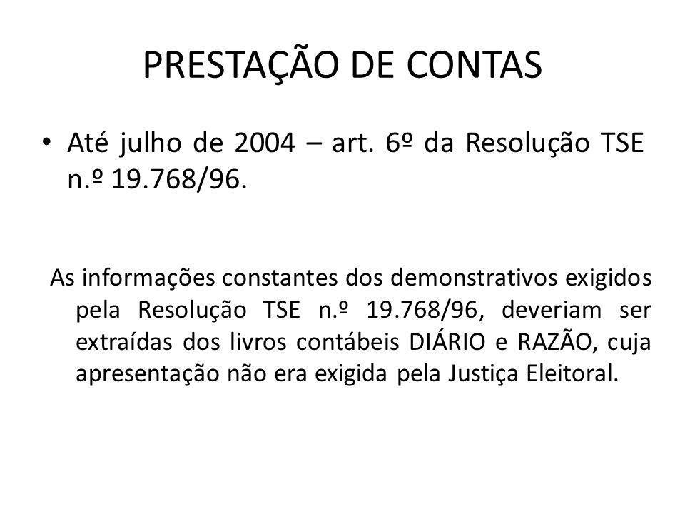 PRESTAÇÃO DE CONTAS Até julho de 2004 – art. 6º da Resolução TSE n.º 19.768/96.