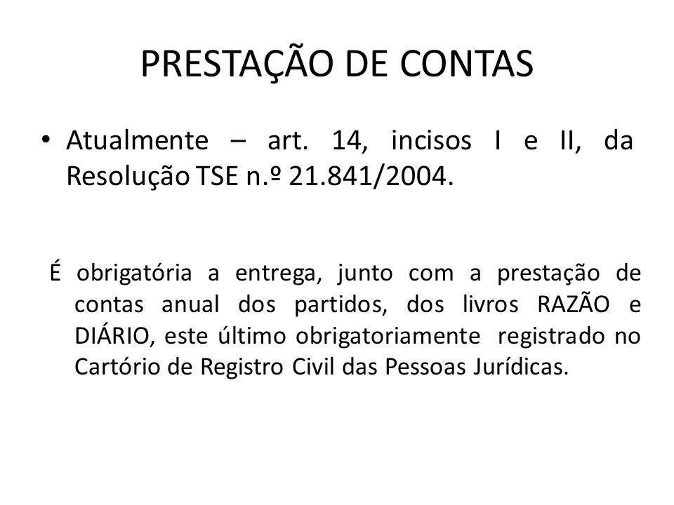 PRESTAÇÃO DE CONTAS Atualmente – art. 14, incisos I e II, da Resolução TSE n.º 21.841/2004.