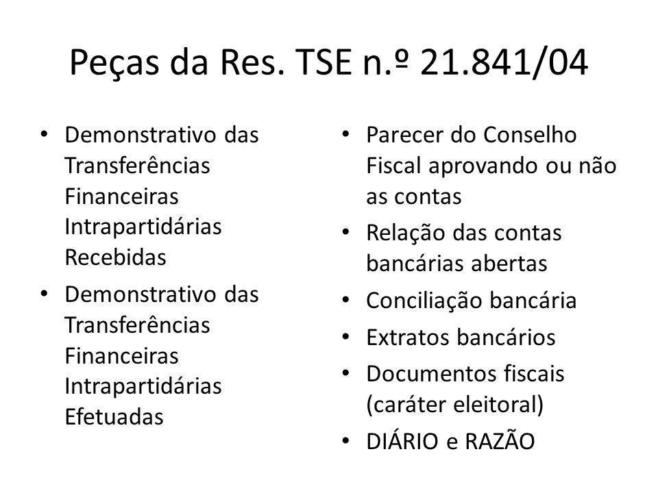 Peças da Res. TSE n.º 21.841/04 Demonstrativo das Transferências Financeiras Intrapartidárias Recebidas.