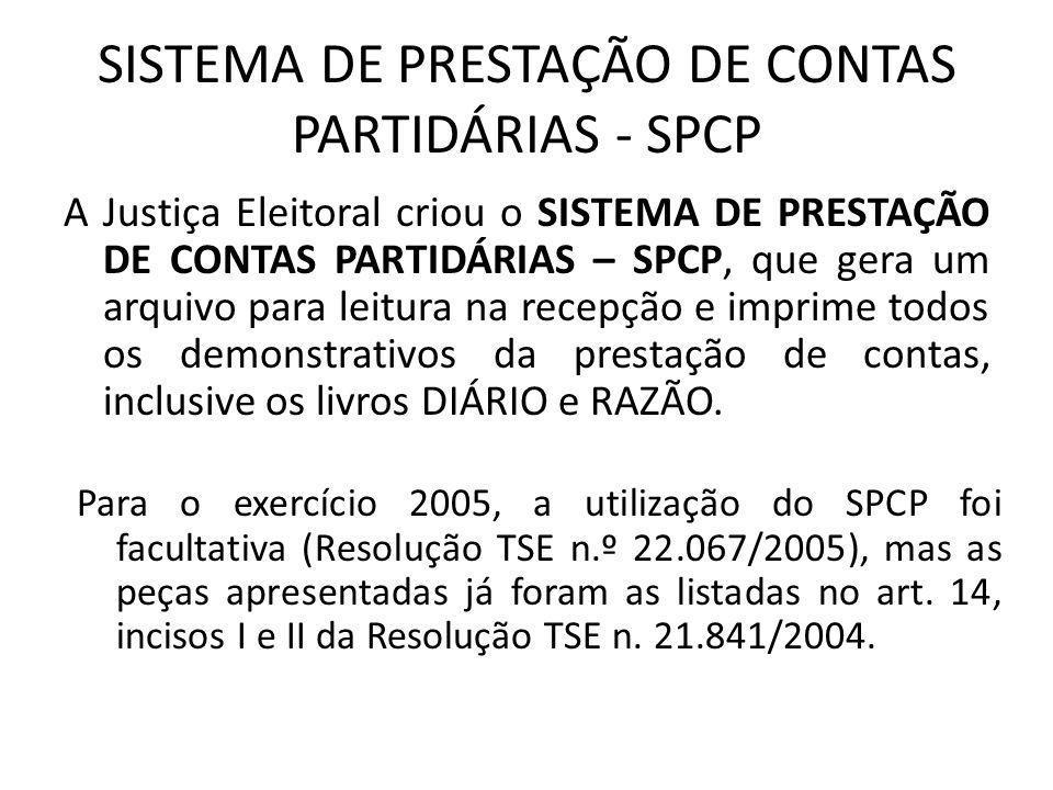 SISTEMA DE PRESTAÇÃO DE CONTAS PARTIDÁRIAS - SPCP