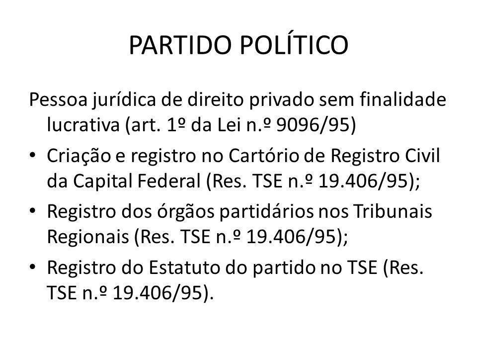 PARTIDO POLÍTICO Pessoa jurídica de direito privado sem finalidade lucrativa (art. 1º da Lei n.º 9096/95)