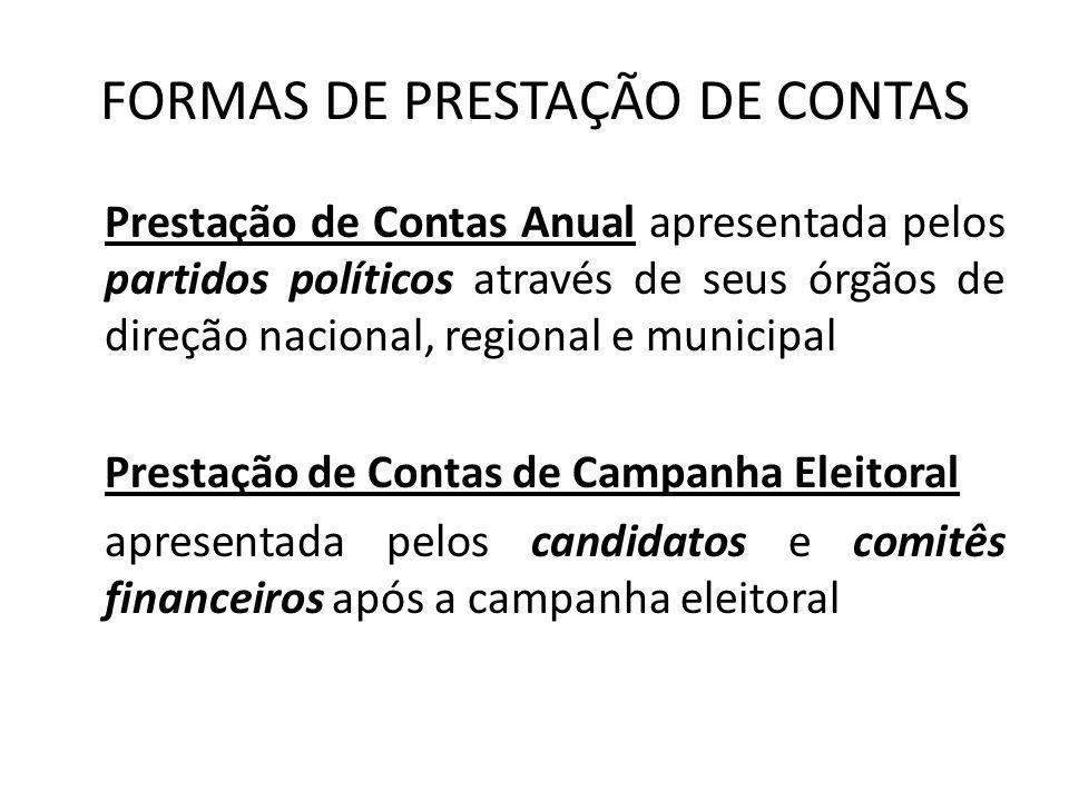 FORMAS DE PRESTAÇÃO DE CONTAS