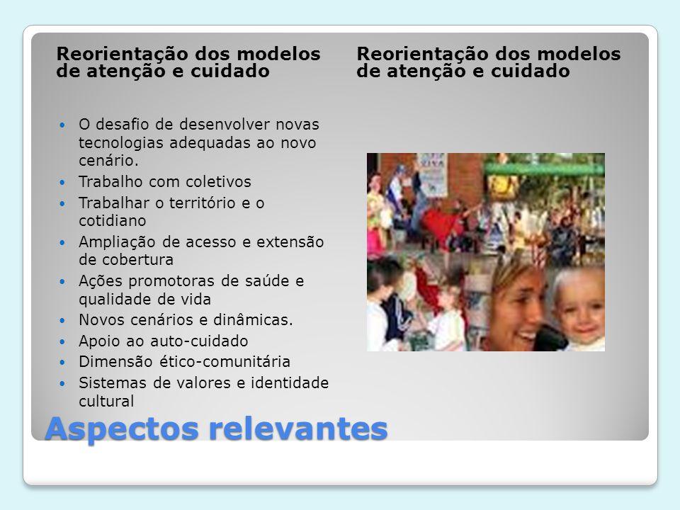 Aspectos relevantes Reorientação dos modelos de atenção e cuidado