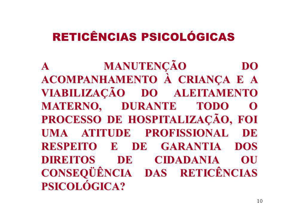 RETICÊNCIAS PSICOLÓGICAS