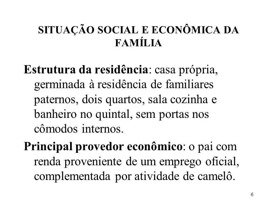 SITUAÇÃO SOCIAL E ECONÔMICA DA FAMÍLIA