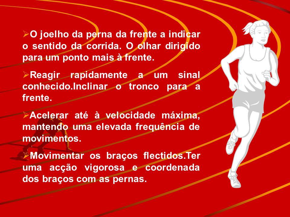 O joelho da perna da frente a indicar o sentido da corrida