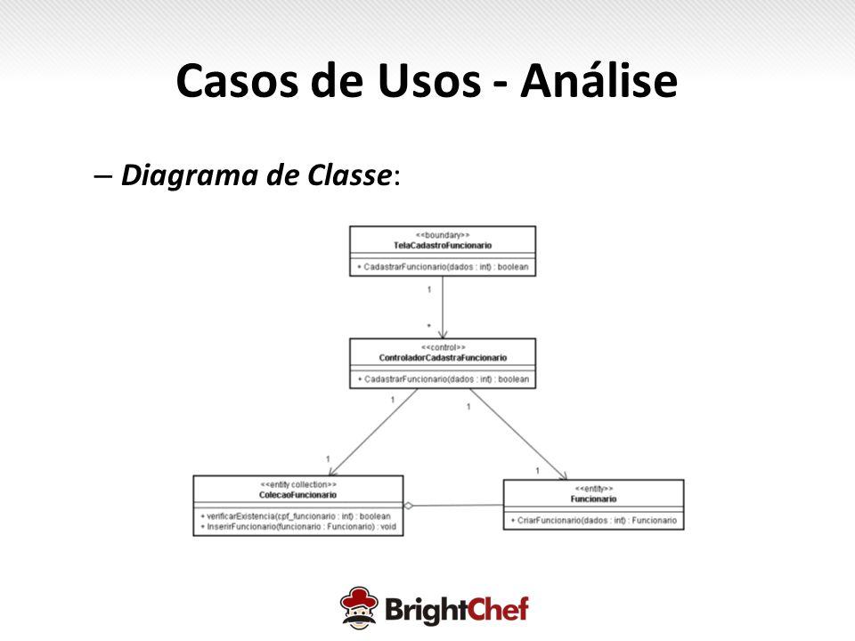 Casos de Usos - Análise Diagrama de Classe: