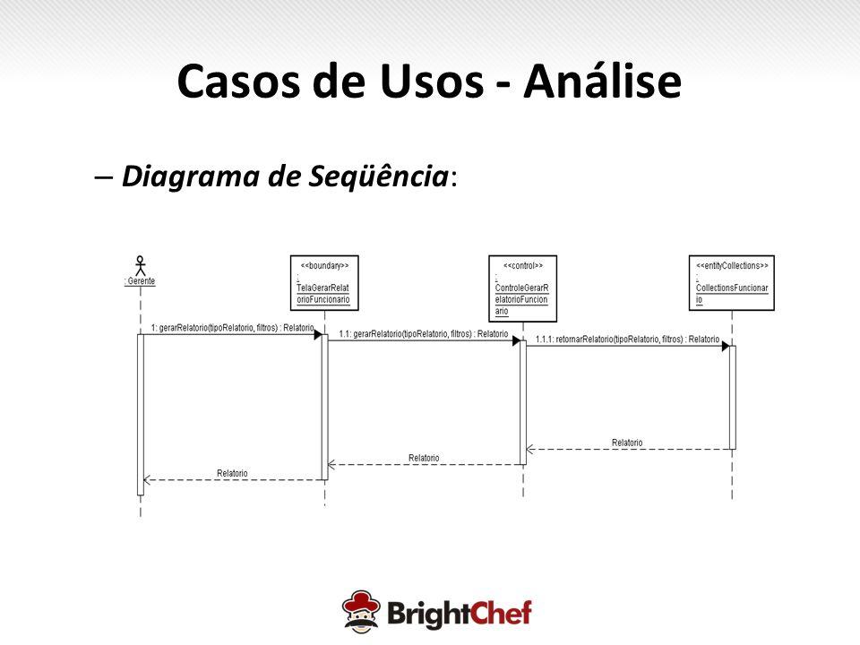 Casos de Usos - Análise Diagrama de Seqüência: