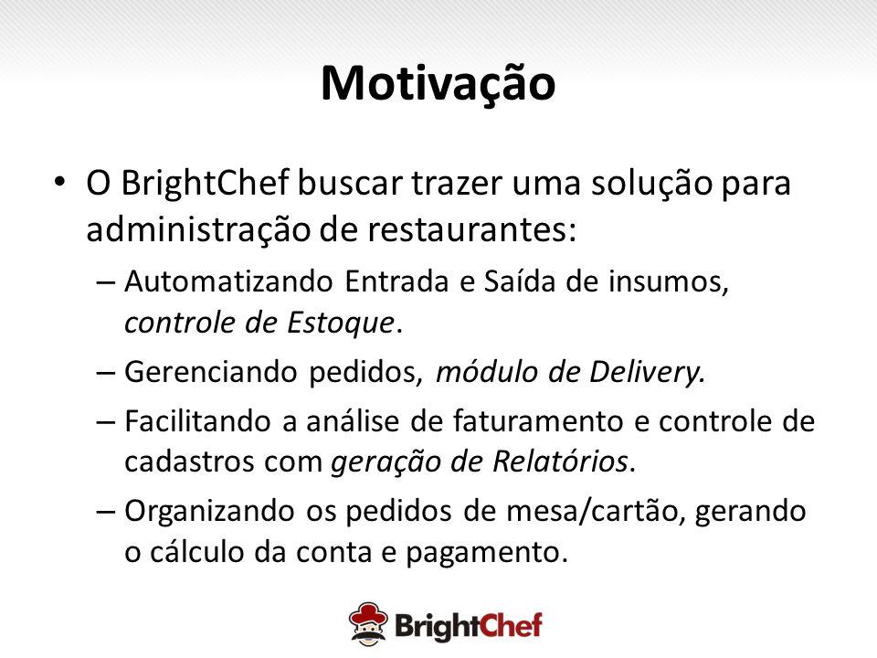 Motivação O BrightChef buscar trazer uma solução para administração de restaurantes: Automatizando Entrada e Saída de insumos, controle de Estoque.