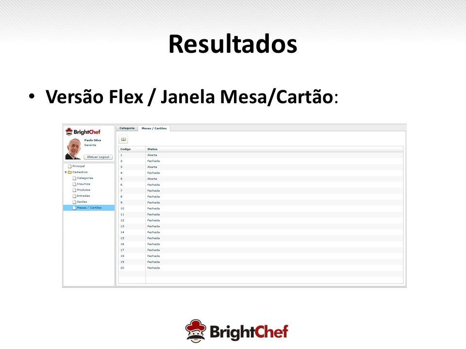 Resultados Versão Flex / Janela Mesa/Cartão: