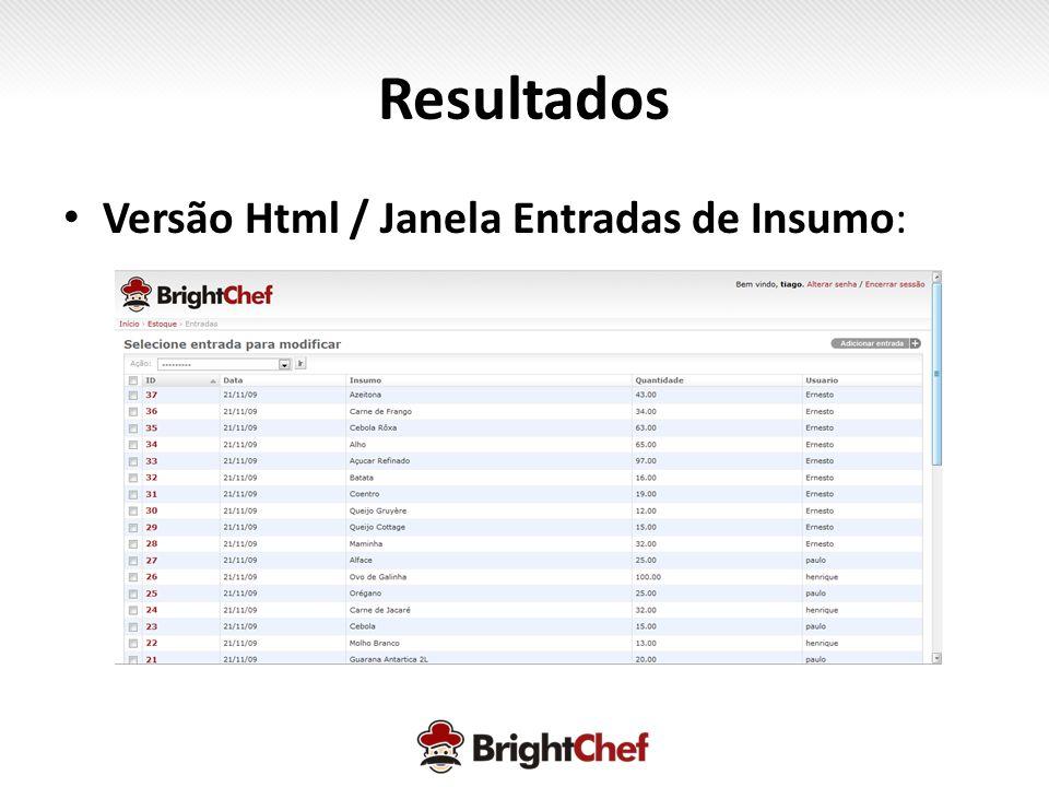 Resultados Versão Html / Janela Entradas de Insumo: