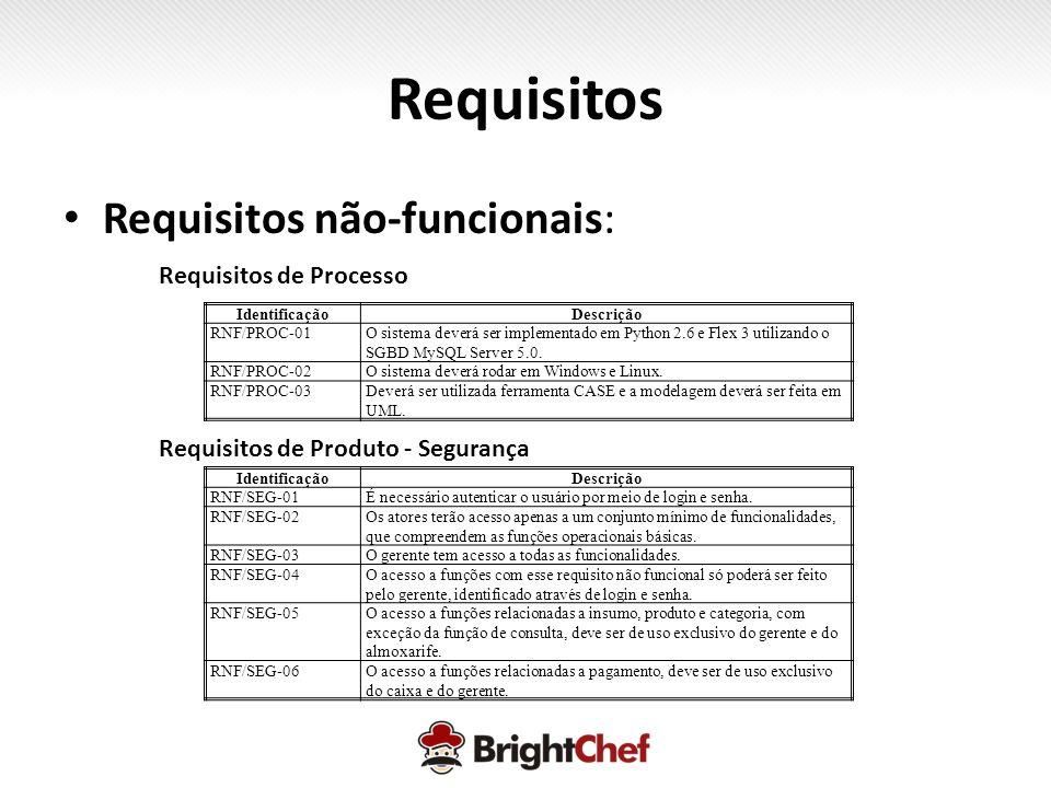 Requisitos Requisitos não-funcionais: Requisitos de Processo