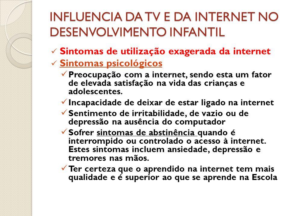 INFLUENCIA DA TV E DA INTERNET NO DESENVOLVIMENTO INFANTIL