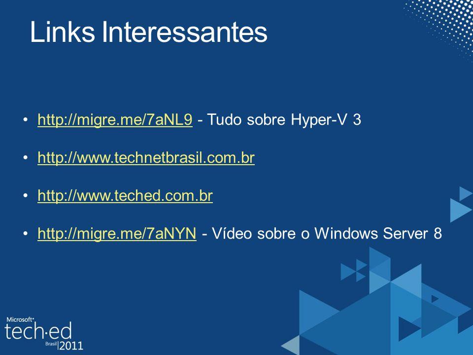Links Interessantes http://migre.me/7aNL9 - Tudo sobre Hyper-V 3