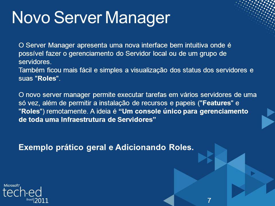 Novo Server Manager Exemplo prático geral e Adicionando Roles.