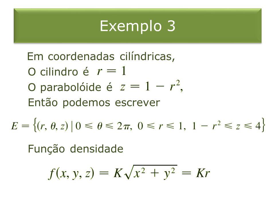 Exemplo 3 Em coordenadas cilíndricas, O cilindro é O parabolóide é Então podemos escrever Função densidade