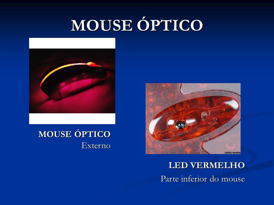 MOUSE ÓPTICO MOUSE ÓPTICO Externo LED VERMELHO Parte inferior do mouse