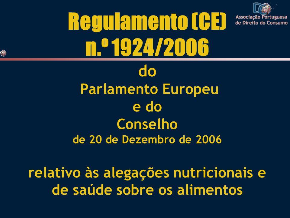 Regulamento (CE) n.º 1924/2006 do Parlamento Europeu e do Conselho de 20 de Dezembro de 2006 relativo às alegações nutricionais e de saúde sobre os alimentos