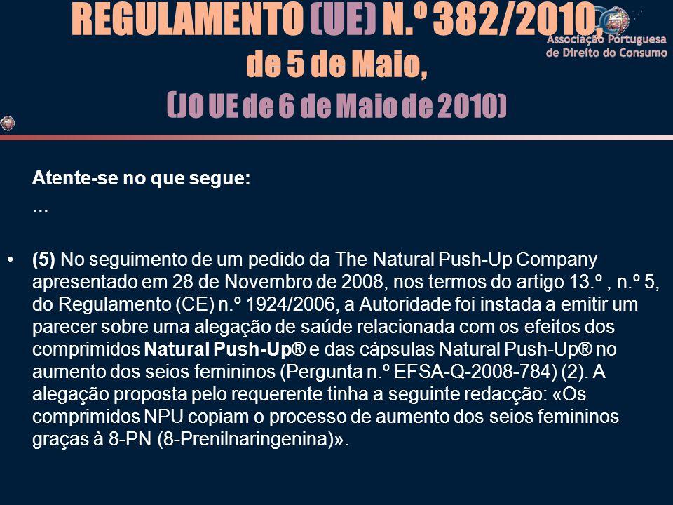 REGULAMENTO (UE) N.º 382/2010, de 5 de Maio, (JO UE de 6 de Maio de 2010)