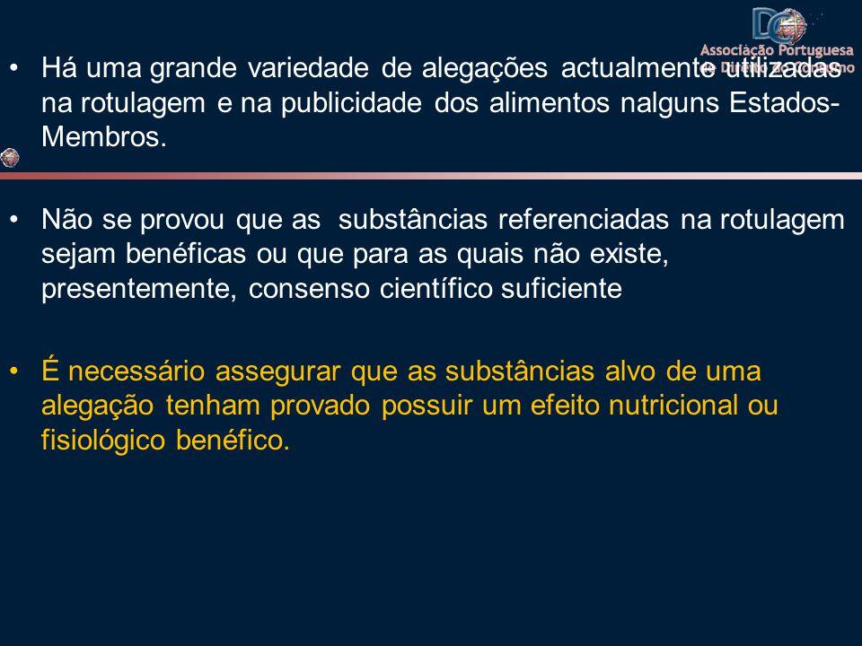 Há uma grande variedade de alegações actualmente utilizadas na rotulagem e na publicidade dos alimentos nalguns Estados-Membros.