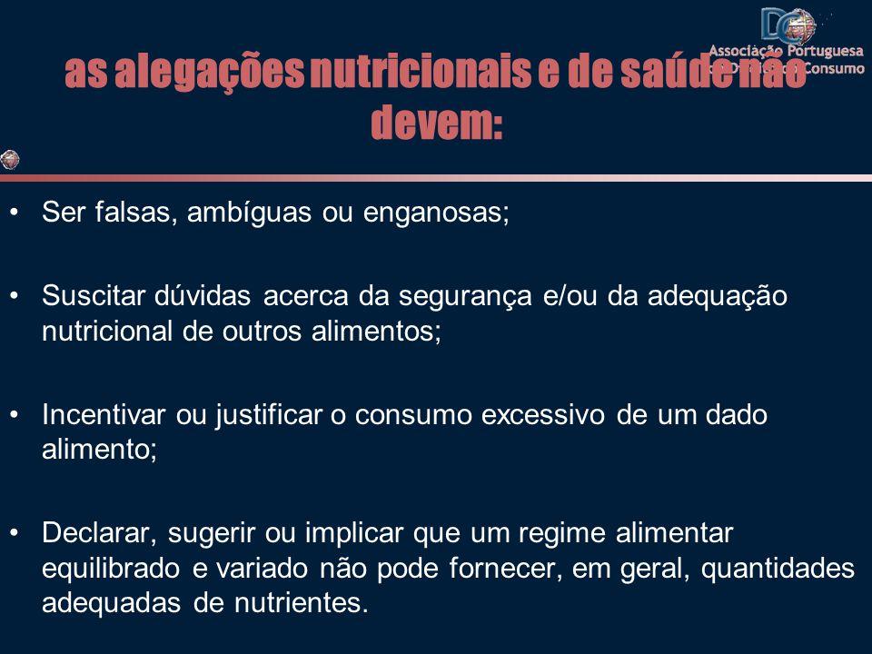 as alegações nutricionais e de saúde não devem: